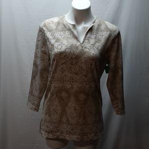 Cathy Daniels long sleeve tan blouse